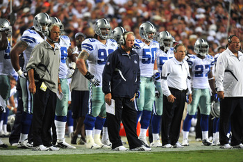 LANDOVER - SEPTEMBER 12:  Head coach Wade Phillips of the Dallas Cowboys coaches during the NFL season opener against the Washington Redskins at FedExField on September 12, 2010 in Landover, Maryland. The Redskins defeated the Cowboys 13-7. (Photo by Larr