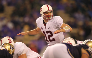 SEATTLE - OCTOBER 30:  Quarterback Andrew Luck #12 of the Stanford Cardinal calls a play at the line of scrimmage during the game against the Washington Huskies on October 30, 2010 at Husky Stadium in Seattle, Washington. Stanford won 41-0. (Photo by Otto