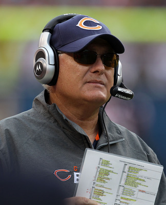 CHICAGO - OCTOBER 24: Offensive coordinator Mike Martz of the Chicago Bears watches a play against the Washington Redskins at Soldier Field on October 24, 2010 in Chicago, Illinois. The Redskins defeated the Bears 17-14. (Photo by Jonathan Daniel/Getty Im