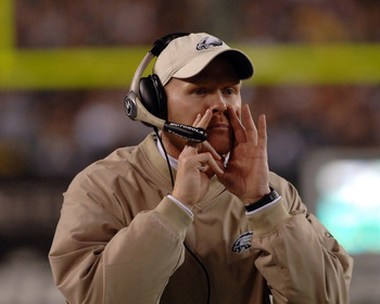 Philadelphia Eagles secondary coach Sean McDermott directs the defense  against the Dallas Cowboys November 14, 2005 at Lincoln Financial Field in Philadelphia.  The Cowboys defeated the Eagles 21 - 20.  (Photo by Al Messerschmidt/Getty Images)