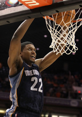PHOENIX - NOVEMBER 05:  Rudy Gay #22 of the Memphis Grizzlies slam dunks the ball against the Phoenix Suns during the NBA game at US Airways Center on November 5, 2010 in Phoenix, Arizona. The Suns defeated the Grizzlies 123-118 in double overtime.  NOTE