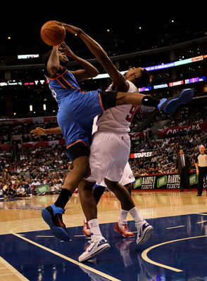 LOS ANGELES - NOVEMBER 3:  Kevin Durant #35 of the Oklahoma City Thunder is fouled by DeAndre Jordan #9 of the Los Angeles Clippers at Staples Center on November 3, 2010 in Los Angeles, California.  NOTE TO USER: User expressly acknowledges and agrees tha