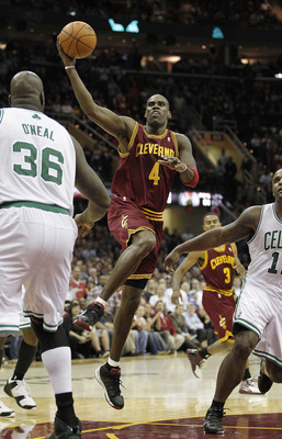 CLEVELAND - OCTOBER 27:  Antawn Jamison #4 of the Cleveland Cavaliers tries to get a shot off over Shaquille O'Neal #36 of the Boston Celtics at Quicken Loans Arena on October 27, 2010 in Cleveland, Ohio. Cleveland won the game 95-87.  (Photo by Gregory S