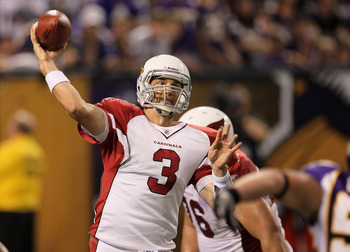 MINNEAPOLIS - NOVEMBER 7:  Quarterback Derek Anderson #3 of the Arizona Cardinals throws a pass against the Minnesota Vikings at Hubert H. Humphrey Metrodome on November 7, 2010 in Minneapolis, Minnesota. The Vikings won 27-24 in overtime. (Photo by Steph
