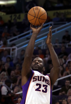 PHOENIX - OCTOBER 12:  Jason Richardson #23 of the Phoenix Suns attempts a three point shot against the Utah Jazz during the preseason NBA game at US Airways Center on October 12, 2010 in Phoenix, Arizona. NOTE TO USER: User expressly acknowledges and agr