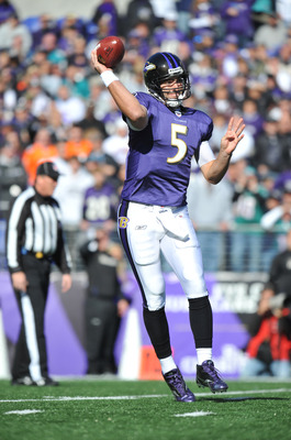 BALTIMORE, MD - NOVEMBER 7:  Joe Flacco #5 of the Baltimore Ravens passes against the Miami Dolphins at M&T Bank Stadium on November 7, 2010 in Baltimore, Maryland. The Ravens defeated the Dolphins 26-10. (Photo by Larry French/Getty Images)