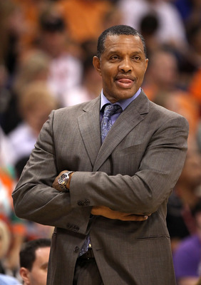 PHOENIX - NOVEMBER 05:  Head coach Alvin Gentry of the Phoenix Suns reacts during the NBA game against the Memphis Grizzlies at US Airways Center on November 5, 2010 in Phoenix, Arizona. The Suns defeated the Grizzlies 123-118 in double overtime.  NOTE TO