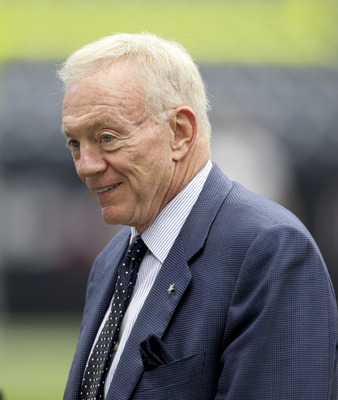 HOUSTON - SEPTEMBER 26:  Dallas Cowboys owner Jerry Jones walks on the field before a football game against the Houston Texans at Reliant Stadium on September 26, 2010 in Houston, Texas.  (Photo by Bob Levey/Getty Images)