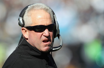 CHARLOTTE, NC - NOVEMBER 07:  Head coach John Fox of the Carolina Panthers reacts to a call during their game against the New Orleans Saints at Bank of America Stadium on November 7, 2010 in Charlotte, North Carolina.  (Photo by Streeter Lecka/Getty Image