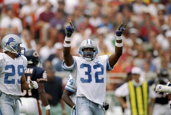 14 Sep 1997:  Bryant Westbrook #32 and Harry Colon #29  of the Detroit Lions in action during a game against the Chicago Bears at Soldier Field in Chicago, Illinois.  The Lions won the game 32-7.    Mandatory Credit: Matthew Stockman  /Allsport
