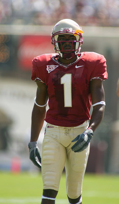 TALLAHASSEE, FL - OCTOBER 2:  Wide receiver Craphonso Thorpe #1 of the Florida State Seminoles looks on while facing the North Carolina Tar Heels at Doak Campbell Stadium on October 2, 2004 in Tallahassee, Florida. FSU won 38-16. (Photo by Scott Halleran/