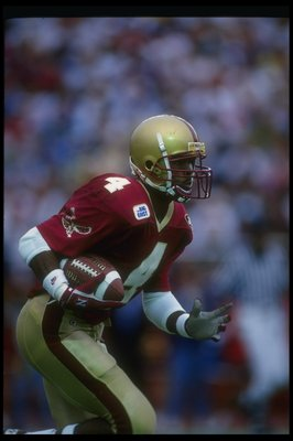 4 Sep 1993:  Wide receiver Kenyatta Watson of the Boston College Eagles moves down the field during a game against the Miami Hurricanes at Alumni Stadium in Chestnut Hill, Massachusetts. Mandatory Credit: Rick Stewart  /Allsport