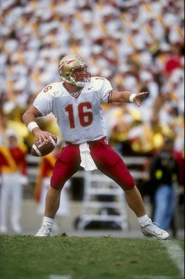 3 Oct 1998:  Quarterback Chris Weinke #16 of the Florida State Seminoles prepares to throw a pass during a game against the Maryland Terrapins at the Byrd Stadium in College Park, Maryland. The Seminoles defeated the Terrapins 24-10.