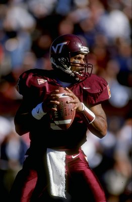28 Nov 1998:  Quarterback Al Clark #5 of the Virginia Tech Hokies looks to throw during a game against the Virginia Cavaliers at Lane Stadium in Blackburgh, Virginia. Virginia defeated Virginia Tech 36-32. Mandatory Credit: Scott Halleran  /Allsport