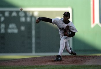 16 Oct 1999:  Pitcher Pedro Martinez #45 of the Boston Red Sox pitches the ball during the ALCS game three against the New York Yankees at Fenway Park in Boston, Massachusetts. The Red Sox defeated the Yankees 13-1. Mandatory Credit: Jonathan Daniel  /All