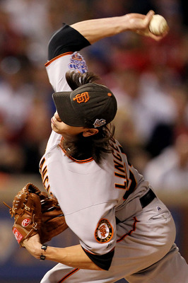 ARLINGTON, TX - NOVEMBER 01:  Starting pitcher Tim Lincecum #55 of the San Francisco Giants pitches against the Texas Rangers in Game Five of the 2010 MLB World Series at Rangers Ballpark in Arlington on November 1, 2010 in Arlington, Texas.  (Photo by Ro