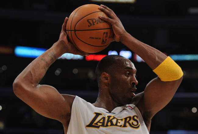 LOS ANGELES, CA - NOVEMBER 07:  Kobe Bryant #24 of the Los Angeles Lakers makes a play against the Portland Trail Blazers at the Staples Center on November 7, 2010 in Los Angeles, California.  NOTE TO USER: User expressly acknowledges and agrees that, by
