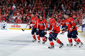WASHINGTON - NOVEMBER 03:  The Washington Capitals celebrate after a 5-4 shootout victory against the Toronto Maple Leafs at the Verizon Center on November 3, 2010 in Washington, DC.  (Photo by Greg Fiume/Getty Images)