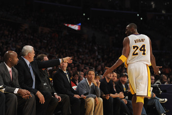LOS ANGELES, CA - NOVEMBER 07:  Kobe Bryant #24 of the Los Angeles Lakers reacts to coach Phil Jackson during the game against the Portland Trail Blazers at the Staples Center on November 7, 2010 in Los Angeles, California.  NOTE TO USER: User expressly a