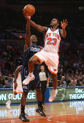 NEW YORK - NOVEMBER 09:  Toney Douglas #23 of the New York Knicks lays the ball up against the Utah Jazz at Madison Square Garden on November 9, 2009 in New York City. NOTE TO USER: User expressly acknowledges and agrees that, by downloading and or using