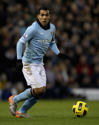 WEST BROMWICH, ENGLAND - NOVEMBER 07: Manchester City's Carlos Tevez in action during the Barclays Premier League match between West Bromwich Albion and Manchester City at The Hawthorns on November 7, 2010 in West Bromwich, England.  (Photo by Scott Heave
