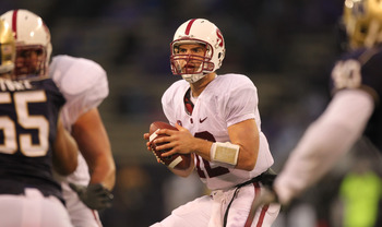 SEATTLE - OCTOBER 30:  Quarterback Andrew Luck #12 of the Stanford Cardinal drops back to pass against the Washington Huskies on October 30, 2010 at Husky Stadium in Seattle, Washington. Stanford won 41-0. (Photo by Otto Greule Jr/Getty Images)