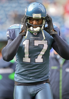 SEATTLE - OCTOBER 24:  Wide receiver Mike Williams #17 of the Seattle Seahawks looks on during warmups prior to the game against the Arizona Cardinals at Qwest Field on October 24, 2010 in Seattle, Washington. (Photo by Otto Greule Jr/Getty Images)