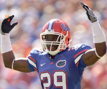 GAINESVILLE, FL - SEPTEMBER 27:  Janoris Jenkins #29 of the Florida Gators motions on the field during the game against the Mississippi Rebels at Ben Hill Griffin Stadium on September 27, 2008 in Gainesville, Florida.  (Photo by Sam Greenwood/Getty Images