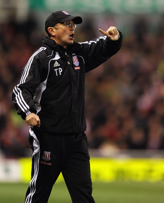 STOKE ON TRENT, ENGLAND - NOVEMBER 09:  Stoke manager Tony Pulis gestures during the Barclays Premier League match between Stoke City and Birmingham City at the Britannia Stadium on November 9, 2010 in Stoke on Trent, England.  (Photo by Michael Regan/Get