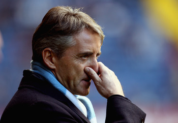 WEST BROMWICH, ENGLAND - NOVEMBER 07: Manchester manager Roberto Mancini during the Barclays Premier League match between West Bromwich Albion and Manchester City at The Hawthorns on November 7, 2010 in West Bromwich, England.  (Photo by Scott Heavey/Gett