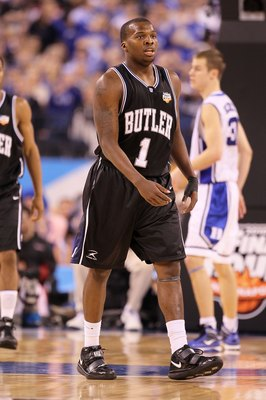 INDIANAPOLIS - APRIL 05:  Shelvin Mack #1 of the Butler Bulldogs walks on court against the Duke Blue Devils during the 2010 NCAA Division I Men's Basketball National Championship game at Lucas Oil Stadium on April 5, 2010 in Indianapolis, Indiana.  (Phot