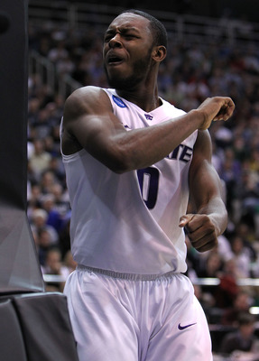SALT LAKE CITY - MARCH 27:  Jacob Pullen #0 of the Kansas State Wildcats argues a call against the Butler Bulldogs during the west regional final of the 2010 NCAA men's basketball tournament at the Energy Solutions Arena on March 27, 2010 in Salt Lake Cit