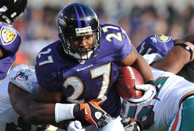 BALTIMORE, MD - NOVEMBER 7:  Ray Rice #27 of the Baltimore Ravens runs the bal against the Miami Dolphins at M&T Bank Stadium on November 7, 2010 in Baltimore, Maryland. The Ravens defeated the Dolphins 26-10. (Photo by Larry French/Getty Images)