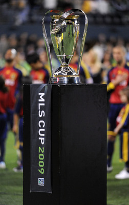 SEATTLE - NOVEMBER 22:  The Philip F. Anschutz MLS Cup trophy is seen on the field prior to the MLS Cup final at Qwest Field on November 22, 2009 in Seattle, Washington.  (Photo by Harry How/Getty Images)