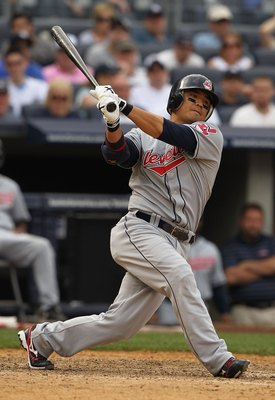 NEW YORK - MAY 29:  Shin Soo Choo #17 of the Cleveland Indians in action against The New York Yankees during their game on May 29, 2010 at Yankee Stadium in the Bronx Borough of New York City.  (Photo by Al Bello/Getty Images)