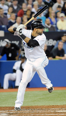 TORONTO, ON - SEPTEMBER 22: Jose Bautista #19 of the Toronto Blue Jays prepares for the pitch during a game against the Seattle Mariners on September 22, 2010 at the Rogers Centre in Toronto, Canada. (Photo by Matthew Manor/Getty Images)