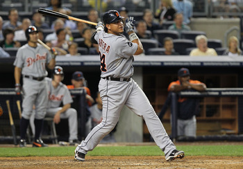 NEW YORK - AUGUST 18:  Miguel Cabrera #24 of the Detroit Tigers hits his second solo home run against the New York Yankees at Yankee Stadium on August 18, 2010 in the Bronx borough of New York City.  (Photo by Nick Laham/Getty Images)