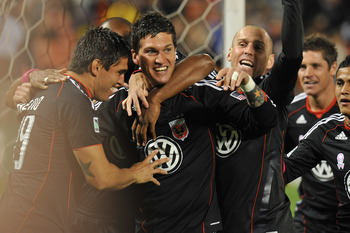 WASHINGTON, DC - OCTOBER 23:  Santino Quaranta #25 of D.C. United celebrates his goal against Toronto FC at RFK Stadium on October 23, 2010 in Washington, DC. (Photo by Larry French/Getty Images)