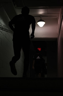 WASHINGTON - SEPTEMBER 4: A member of D.C. United runs up the stairs into the tunnel leading to the locker room prior to game against the Columbus Crew at RFK Stadium on September 4, 2010 in Washington, DC. (Photo by Ned Dishman/Getty Images)