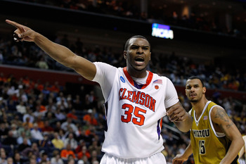 BUFFALO, NY - MARCH 19:  Trevor Booker #35 of the Clemson Tigers reacts after a call while playing against the Missouri Tigers during the first round of the 2010 NCAA men's basketball tournament at HSBC Arena on March 19, 2010 in Buffalo, New York.  (Phot