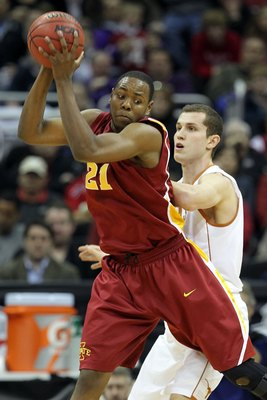 KANSAS CITY, MO - MARCH 10:  Craig Brackins #21 of the Iowa State Cyclones makes a move in the post in the second half against the Texas Longhorns during the first round game of the 2010 Phillips 66 Big 12 Men's Basketball Tournament at the Sprint Center 