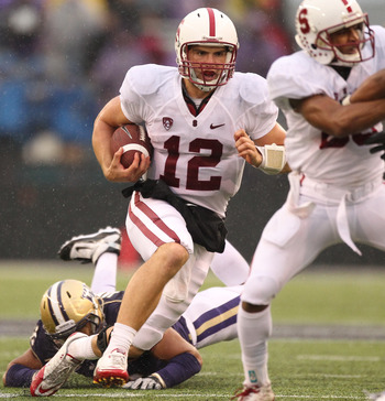 SEATTLE - OCTOBER 30:  Quarterback Andrew Luck #12 of the Stanford Cardinal rushes against the Washington Huskies on October 30, 2010 at Husky Stadium in Seattle, Washington. Stanford won 41-0. (Photo by Otto Greule Jr/Getty Images)