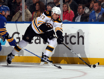 BUFFALO, NY - NOVEMBER 03:  Milan Lucic #17 of the Boston Bruins skates against the Buffalo Sabres at the HSBC Arena on November 3, 2010 in Buffalo, New York. The Bruins defeated the Sabres 5-2.  (Photo by Bruce Bennett/Getty Images)