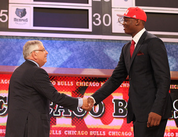 NEW YORK - JUNE 24:  Kevin Seraphin stands with NBA Commissioner David Stern after being drafted seventeenth by  The Chicago Bulls at Madison Square Garden on June 24, 2010 in New York City.  NOTE TO USER: User expressly acknowledges and agrees that, by d