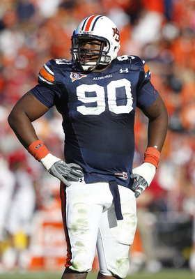 AUBURN - OCTOBER 16:  Defensive lineman Nick Fairley #90 of the Auburn Tigers takes a break on the field during the game against the Arkansas Razorbacks at Jordan-Hare Stadium on October 16, 2010 in Auburn, Alabama.  (Photo by Mike Zarrilli/Getty Images)