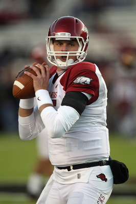 COLUMBIA, SC - NOVEMBER 06:  Ryan Mallett #15 of the Arkansas Razorbacks during warm ups before the start of their game against the South Carolina Gamecocks at Williams-Brice Stadium on November 6, 2010 in Columbia, South Carolina.  (Photo by Streeter Lec
