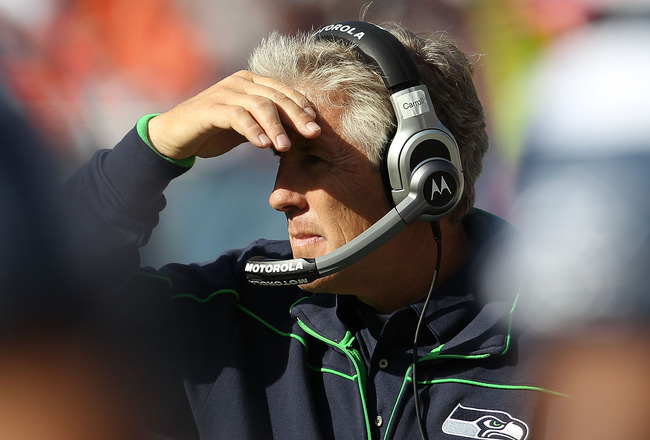 CHICAGO - OCTOBER 17: Head coach Pete Carroll of the Seattle Seahawks watches as his team takes on the Chicago Bears at Soldier Field on October 17, 2010 in Chicago, Illinois. The Seahawks defeated the Bears 23-20. (Photo by Jonathan Daniel/Getty Images)