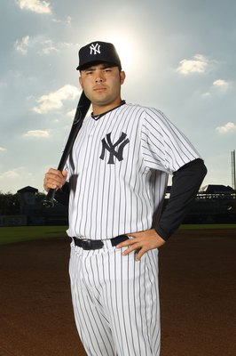 TAMPA, FL - FEBRUARY 25:  Jesus Montero #83 of the New York Yankees poses for a photo during Spring Training Media Photo Day at George M. Steinbrenner Field on February 25, 2010 in Tampa, Florida.  (Photo by Nick Laham/Getty Images)