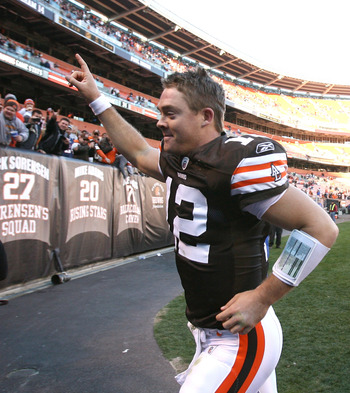 CLEVELAND - NOVEMBER 07:  Quarterback Colt McCoy #12 of the Cleveland Browns leaves the field after their victory over the New England Patriots at Cleveland Browns Stadium on November 7, 2010 in Cleveland, Ohio.  (Photo by Matt Sullivan/Getty Images)