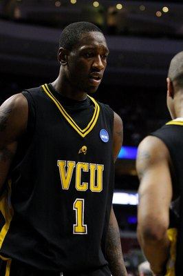 PHILADELPHIA - MARCH 19:  Larry Sanders #1 of the VCU Rams reacts during the game against the UCLA Bruins during the first round of the NCAA Division I Men's Basketball Tournament at the Wachovia Center on March 19, 2009 in Philadelphia, Pennsylvania.  (P